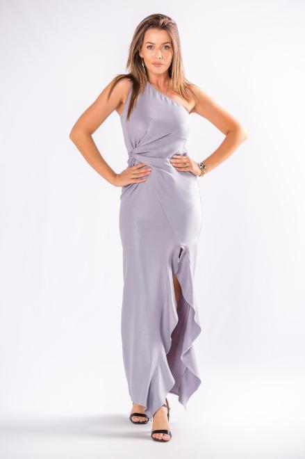 POKER  asymetryczna sukienka maxi  z falbanami M80418 Платье Серый оптом