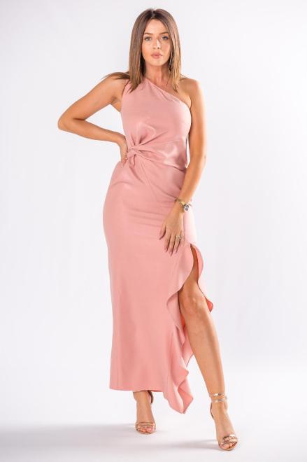 POKER  asymetryczna sukienka maxi  z falbanami M80418 Платье Розовый оптом