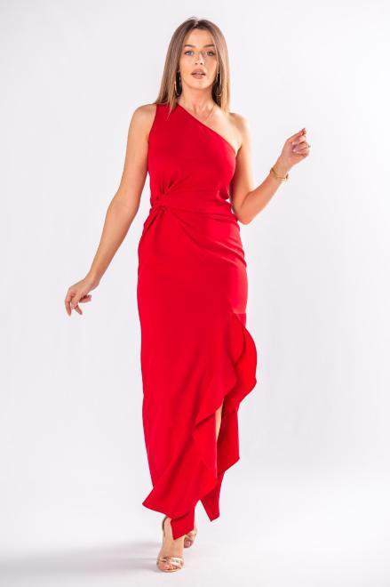 POKER  asymetryczna sukienka maxi  z falbanami M80418 Платье Красный оптом