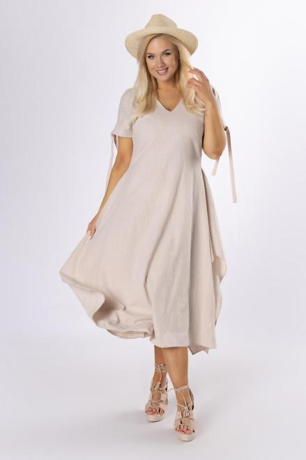 MODA DOROTHY  trapezowa sukienka z wiązaniem M84175 Платье Бежевый оптом
