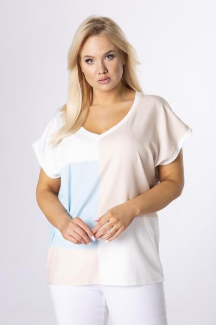 BESQUAR  t-shirt z dekoltem V M84161 Блузка Кремовый оптом
