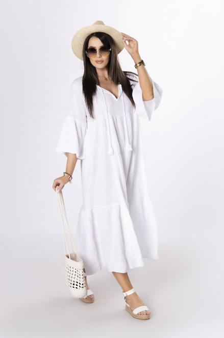 OH MY GOODNESS  muślinowa sukienka maxi z trokami M84220 Платье Белый оптом