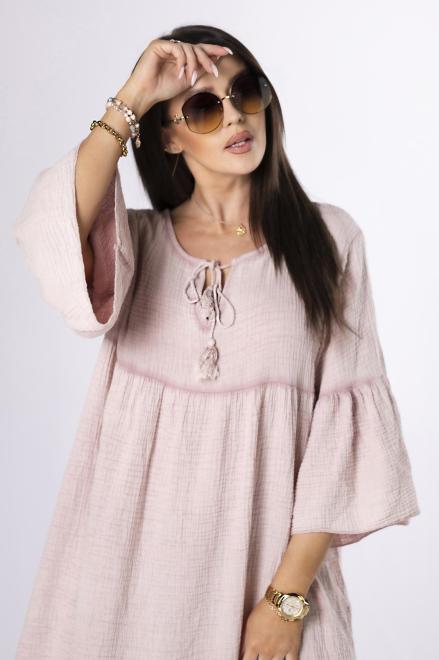 OH MY GOODNESS  muślinowa sukienka maxi z trokami M84220 Платье Розовый оптом