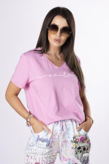 OH MY GOODNESS  t-shirt z napisem M84214 Блузка Розовый оптом