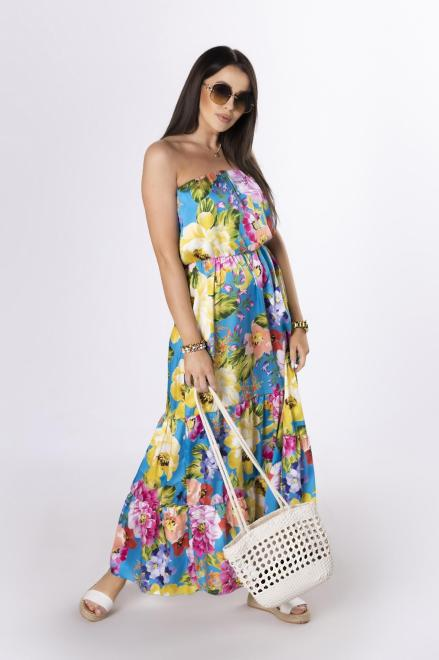 OH MY GOODNESS  sukienka maxi bez ramiączek M84234 Платье Голубой оптом