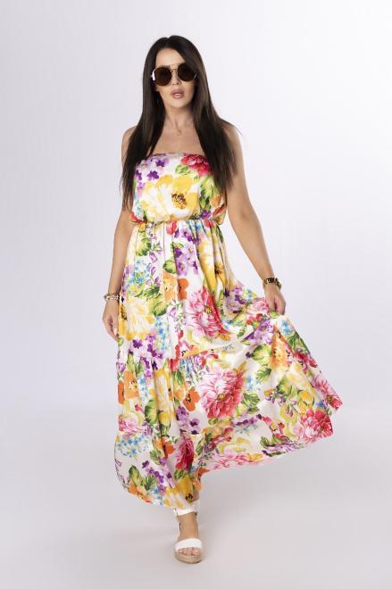 OH MY GOODNESS  sukienka maxi bez ramiączek M84234 Платье Кремовый оптом