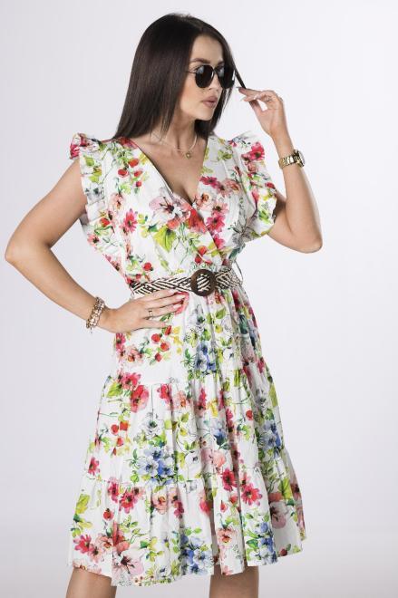 OH MY GOODNESS  wzorzysta sukienka z paskiem M84235 Платье Белый оптом