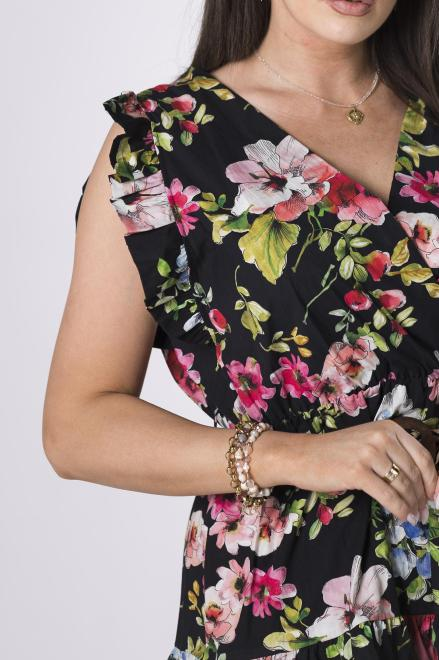 OH MY GOODNESS  wzorzysta sukienka z paskiem M84235 Платье Черный оптом