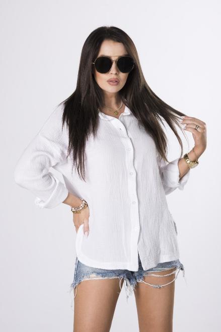 OH MY GOODNESS  koszula z muślinu M84222 Рубашка Белый оптом