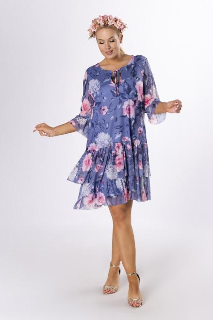 KAJA  wzorzysta sukienka z siatki M84245 Платье Фиолетовый оптом