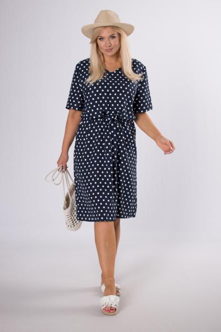 LUIZA  rozkloszowana sukienka w grochy M84212 Платье Темносиний оптом