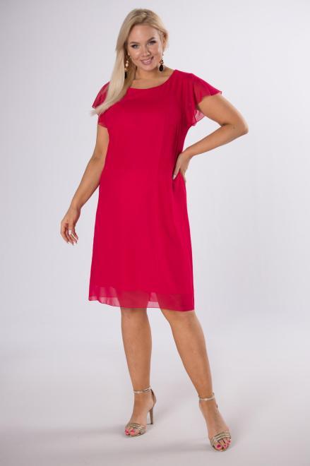 KMX FASHION  szyfonowa sukienka z falbankami M84228 Платье Красный оптом