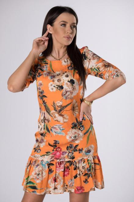 KMX FASHION  wzorzysta sukienka z falbaną M83891 Платье Оранжевый оптом