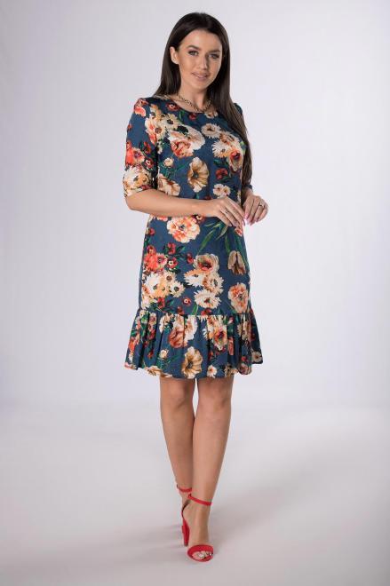 KMX FASHION  wzorzysta sukienka z falbaną M83891 Платье Темносиний оптом