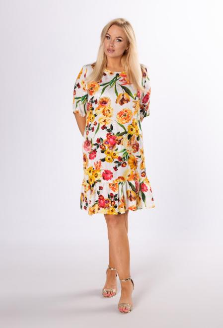 KMX FASHION  wzorzysta sukienka z falbaną M83891 Платье Кремовый оптом