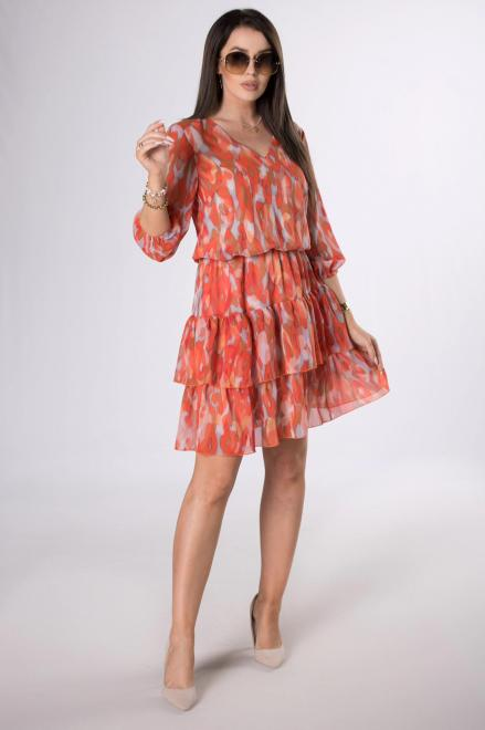MARCELLO  szyfonowa sukienka z falbanami M84262 Платье Multikolor оптом