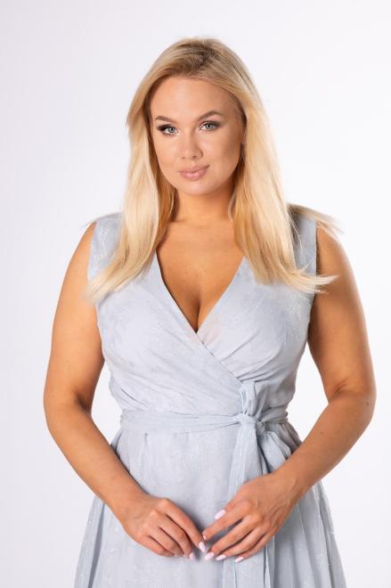 BELLEZZA  kopertowa sukienka midi na ramiączkach M84163 Платье Серый оптом