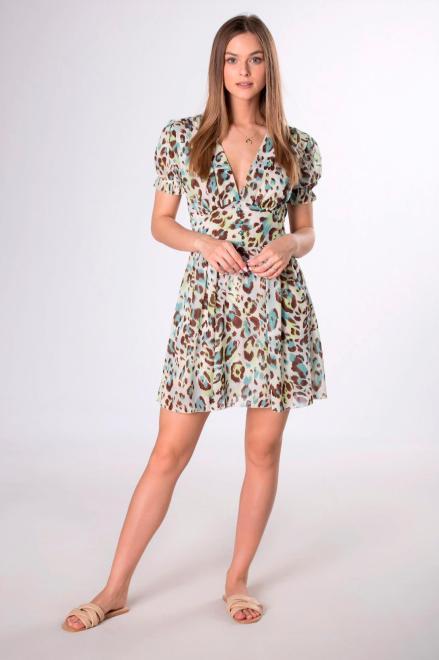 MISS FOFO  sukienka mini z dekoltem V M84278 Платье Multikolor оптом