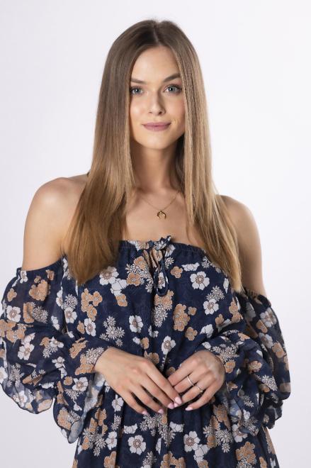 MISS FOFO  szyfonowa sukienka maxi z hiszpańskim dekoltem M84283 Платье Темносиний оптом