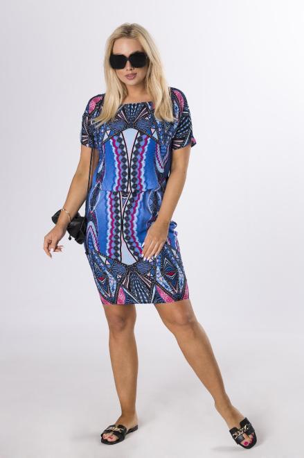 BRENDA  sukienka z printem M84320 Платье Голубой оптом