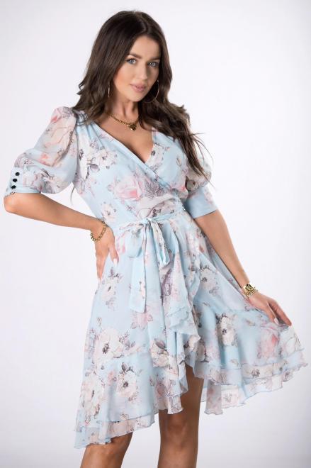 STELLA VERA  kopertowa sukienka z falbanami M84414 Платье Голубой оптом