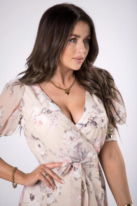 STELLA VERA  kopertowa sukienka z falbanami M84414 Платье Бежевый оптом