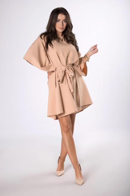 OOH LA LA  sukienka o nietoperzowym kroju M84411 Платье Бежевый оптом