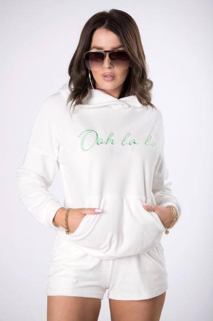OOH LA LA  welurowy dres z haftem M84412 Трикотажные брюки Кремовый оптом