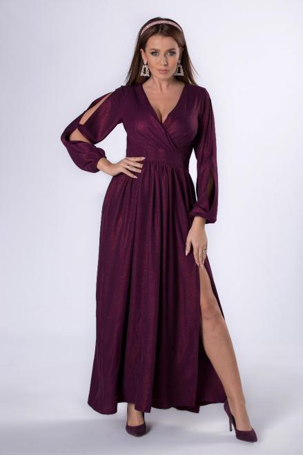 KAJA  sukienka maxi z rozcięciami na rękawach M81282 Платье Бордовый оптом