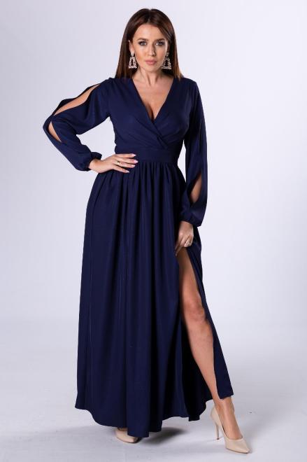 KAJA  sukienka maxi z rozcięciami na rękawach M81282 Платье Темносиний оптом