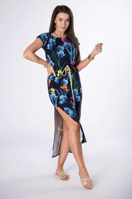 --  sukienka midi z printem M84456 Платье Темносиний оптом