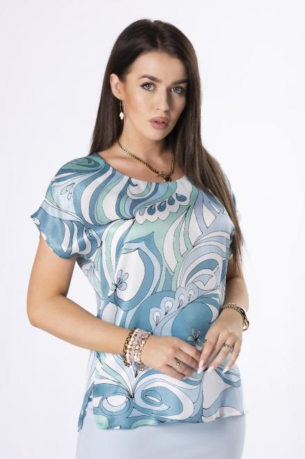 KMX FASHION  satynowa bluzka z printem M84421 Блузка Зеленый оптом