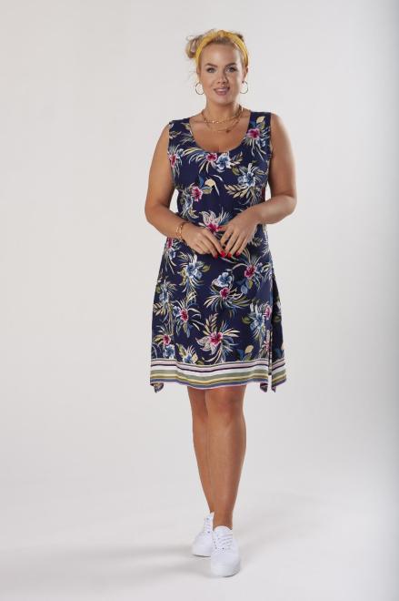 STELLA VERA  trapezowa sukienka z odkrytymi ramionami M80661 Платье Темносиний оптом