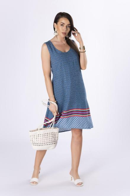 STELLA VERA  trapezowa sukienka z odkrytymi ramionami M80661 Платье Голубой оптом