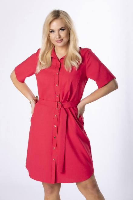 MARCELLO  sukienka szmizjerka z paskiem M84420 Платье Красный оптом