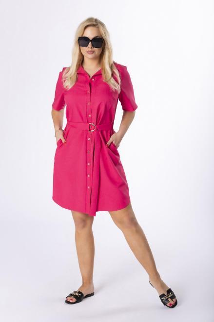MARCELLO  sukienka szmizjerka z paskiem M84420 Платье Розовый оптом