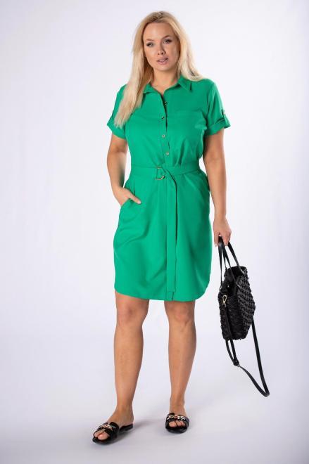 MARCELLO  sukienka szmizjerka z paskiem M84420 Платье Зеленый оптом