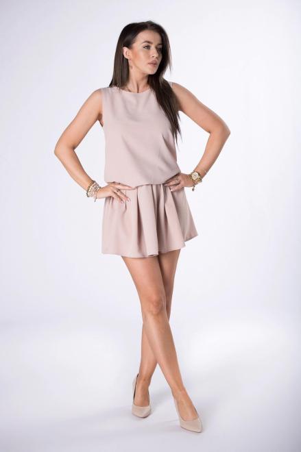 STAY HERE  sukienka mini ze ściągaczem M84521 Платье Бежевый оптом