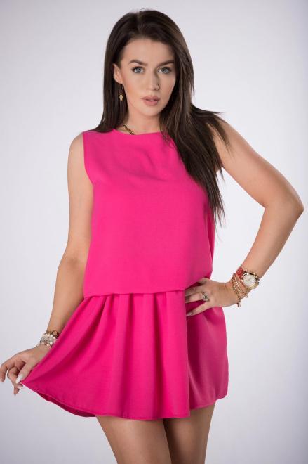 STAY HERE  sukienka mini ze ściągaczem M84521 Платье Розовый оптом