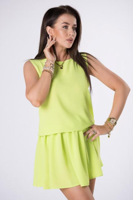 STAY HERE  sukienka mini ze ściągaczem M84521 Платье Зеленый оптом
