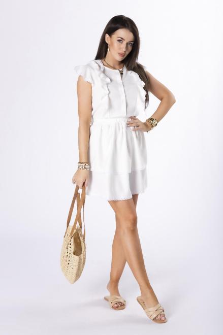 STAY HERE  sukienka z falbankami M84523 Платье Кремовый оптом