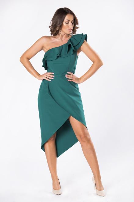 STELLA VERA  asymetryczna koktajlowa sukienka M80648 Платье Зеленый оптом