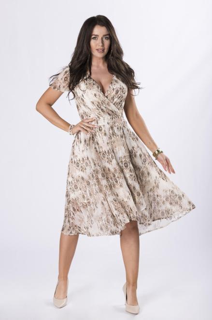 QUARELLE  szyfonowa sukienka z kopertowym dekoltem M84517 Платье Бежевый оптом