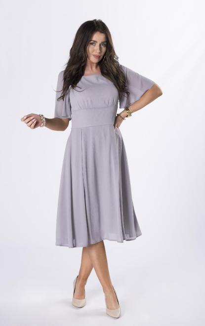 QUARELLE  szyfonowa sukienka midi M84516 Платье Серый оптом