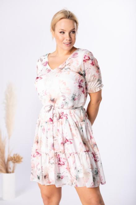 MARCELLO  szyfonowa sukienka z wiązaniem M84566 Платье Кремовый оптом