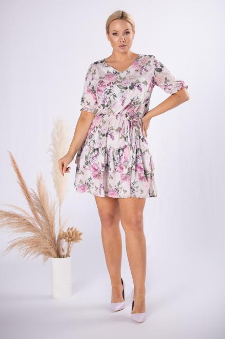 MILANO MODA  rozkloszowana sukienka z falbankami M84572 Платье Multikolor оптом