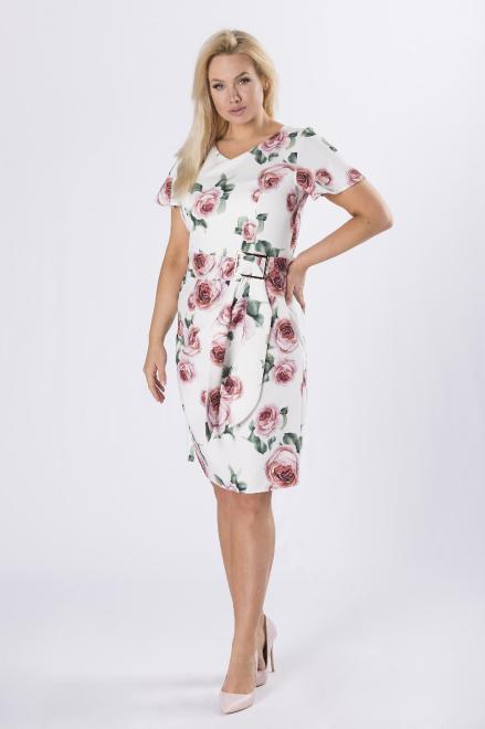 QUARELLE  ołówkowa sukienka z paskiem M84571 Платье Белый оптом