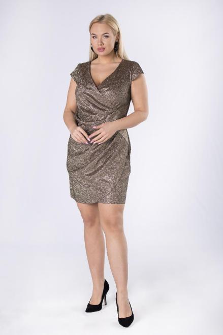 VEGAS  brokatowa sukienka z marszczeniem M82597 Платье золотой оптом