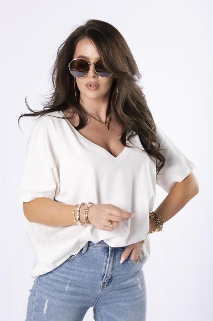 BELLE-FEMME  t-shirt z dekoltem V M84670 Блузка Кремовый оптом