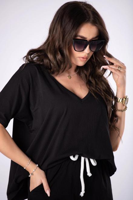 BELLE-FEMME  t-shirt z dekoltem V M84670 Блузка Черный оптом